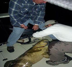 fishing guide Capt. Alex and Dave Justice Holding a jewfish