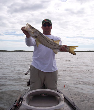 an Oscar holding a snook